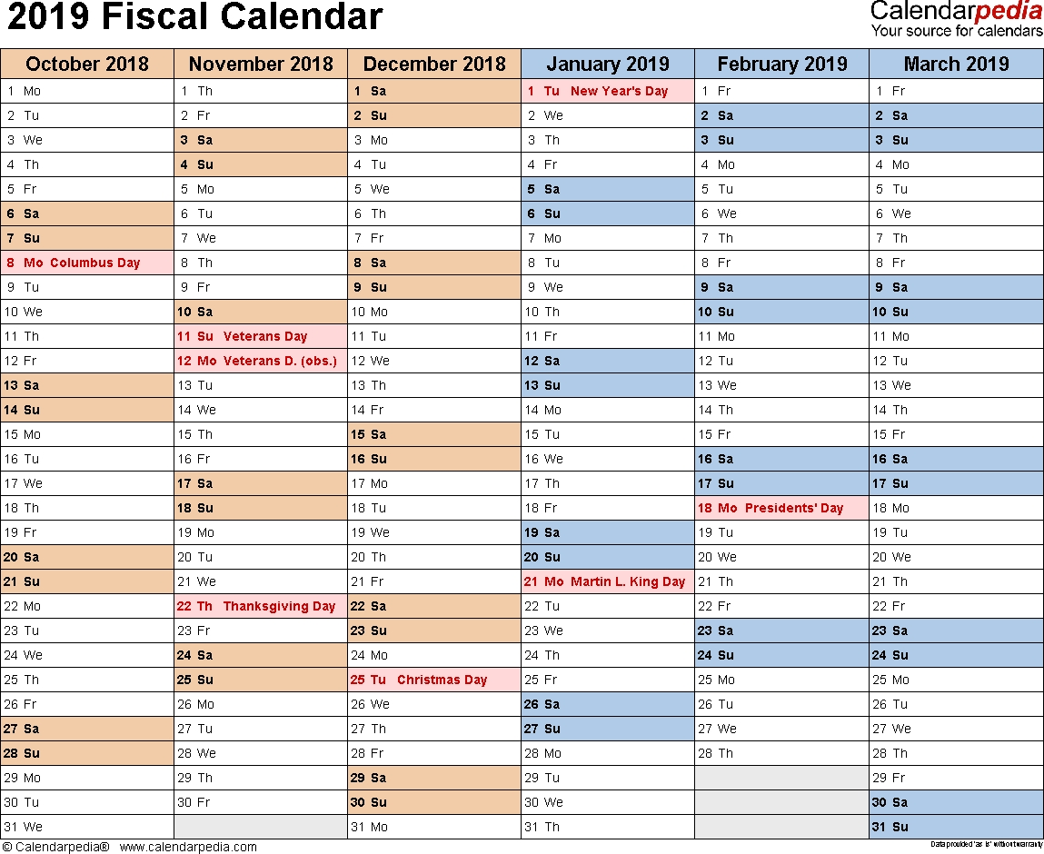 Fiscal Calendars 2019 - Free Printable Word Templates within Financial Calendar 2019 With Week Numbers