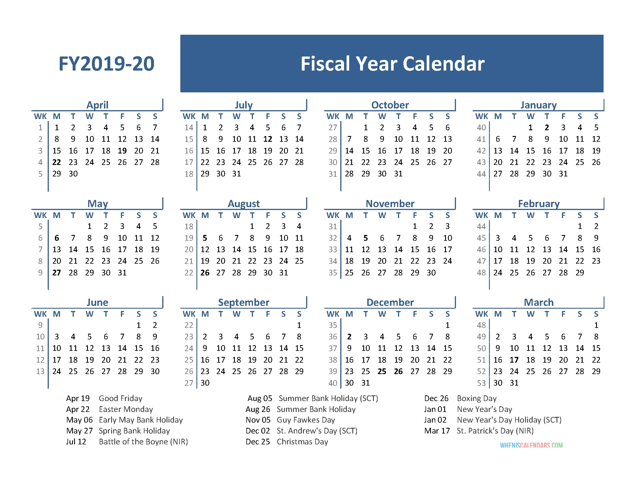 Fiscal Year 2019 Calendar With Holidays (April 2019-March within 2020 Fiscal Calendar To Print