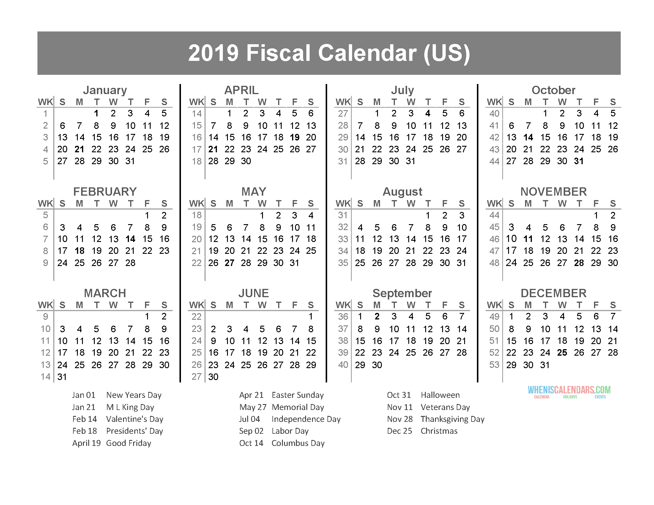 Fiscal Year 2019 Calendar With Us Holidays (January To for Us Financial Calendar Week Numbers