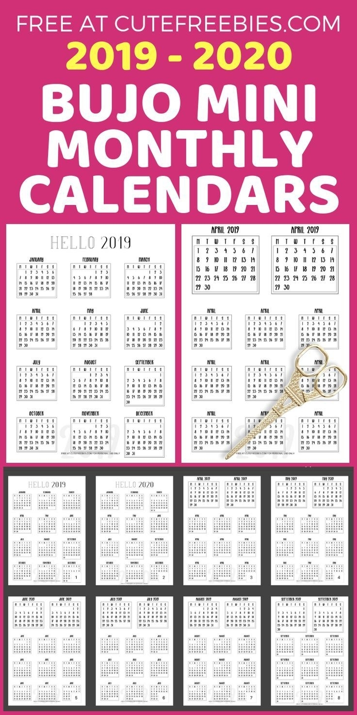 Free 2019-2020 Bullet Journal Calendar Printable Stickers within Free Printable Calander 2020 Victoria Wiht Spaces To Write