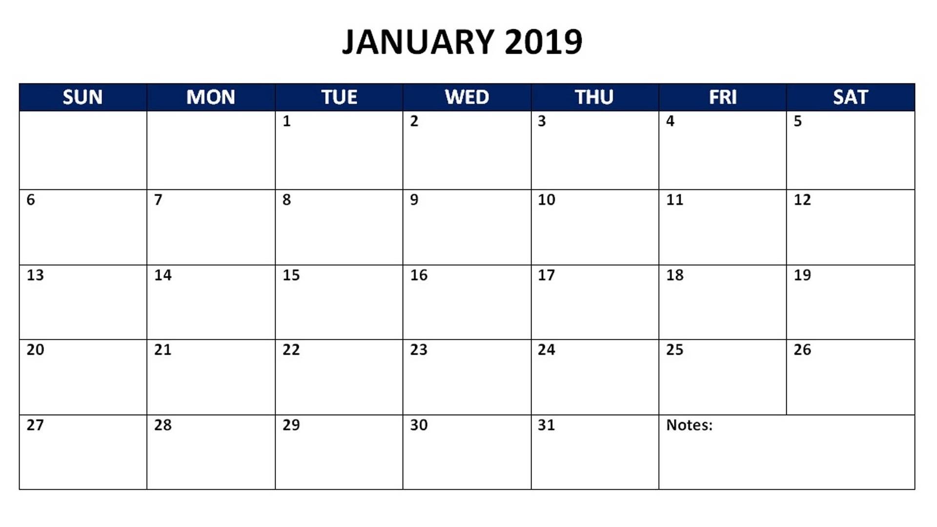 Free 2019 Monthly Calendar Templates | Calendar 2019 Printable in Free Printable Blank Monthly Calendar 2019