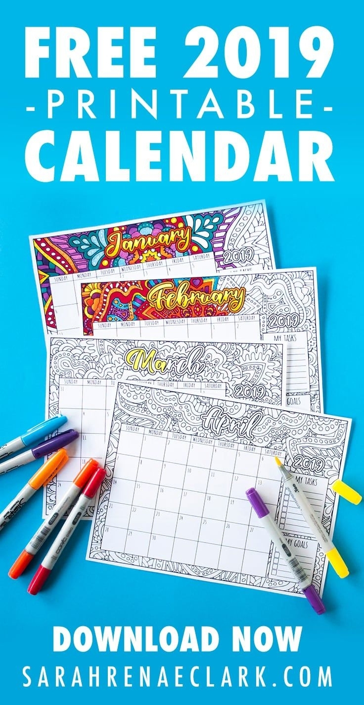 Free 2019 Printable Coloring Calendar -Sarah Renae Clark inside Calendars To Print Free With Space To Write