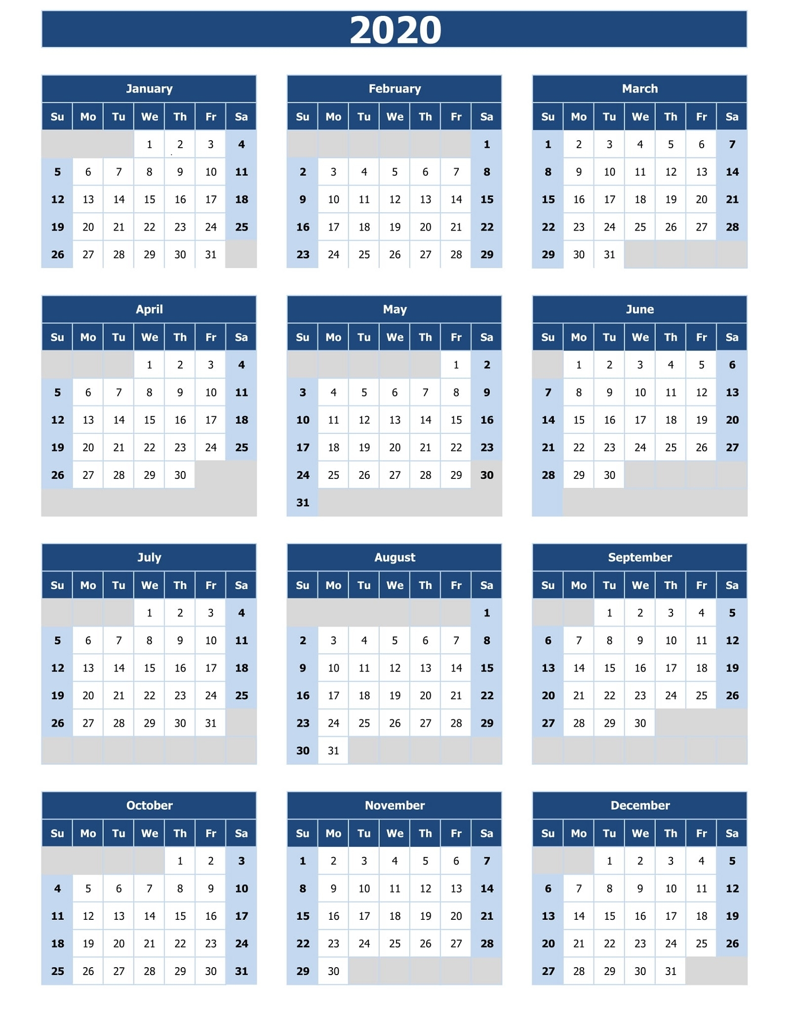 Free 2020 Calendar To Print | 101 Activity in Print Free2020 Calendars Without Downloading