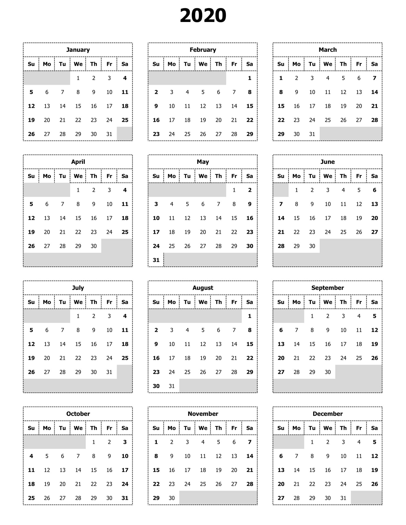 Free 2020 Calendar To Print | 101 Activity throughout Print Free2020 Calendars Without Downloading