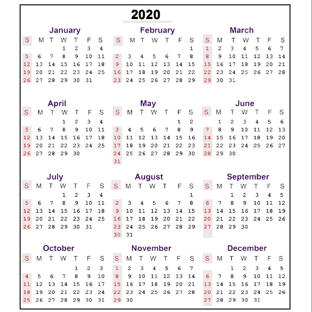 2020 Calendar With Week Numbers Printable - Calendar ...