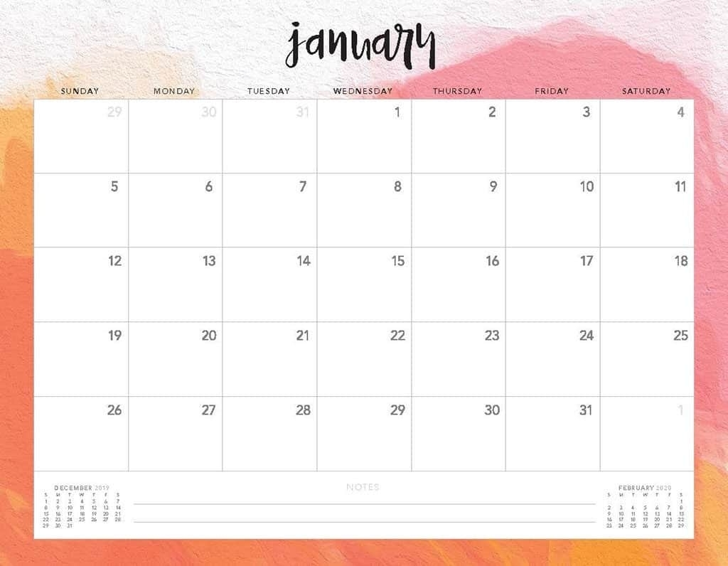 Free 2020 Printable Calendars - 51 Designs To Choose From! within 2020 Calendar Template Monday Sunday