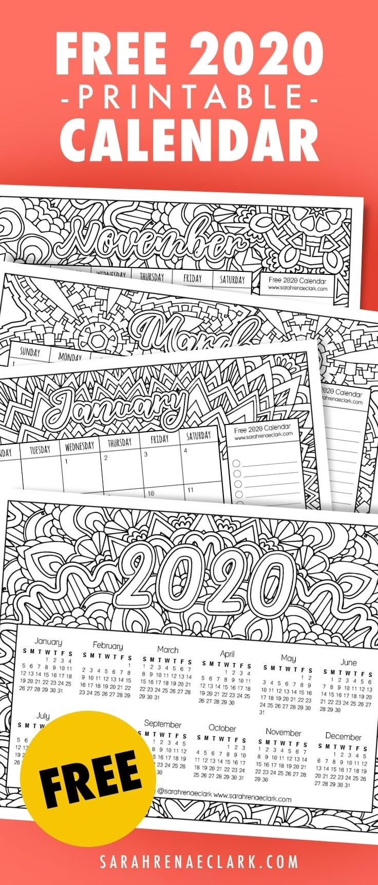 Free 2020 Printable Coloring Calendar -Sarah Renae Clark in Adult Coloring 2020 Calendar Printable
