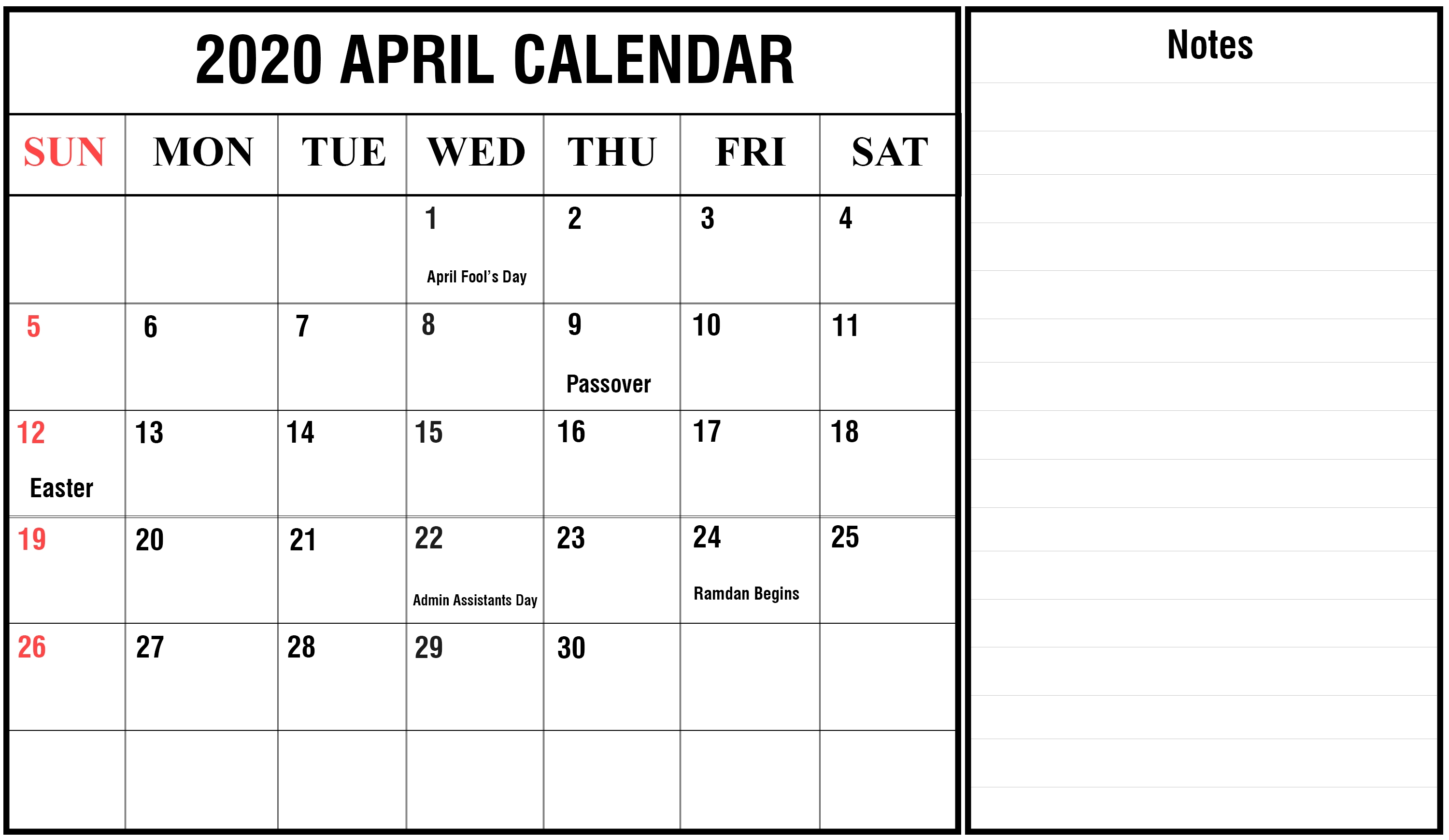 Free April Calendar 2020 Printable Editable Template for Printable Calendar 2020 Monthly With Holidays