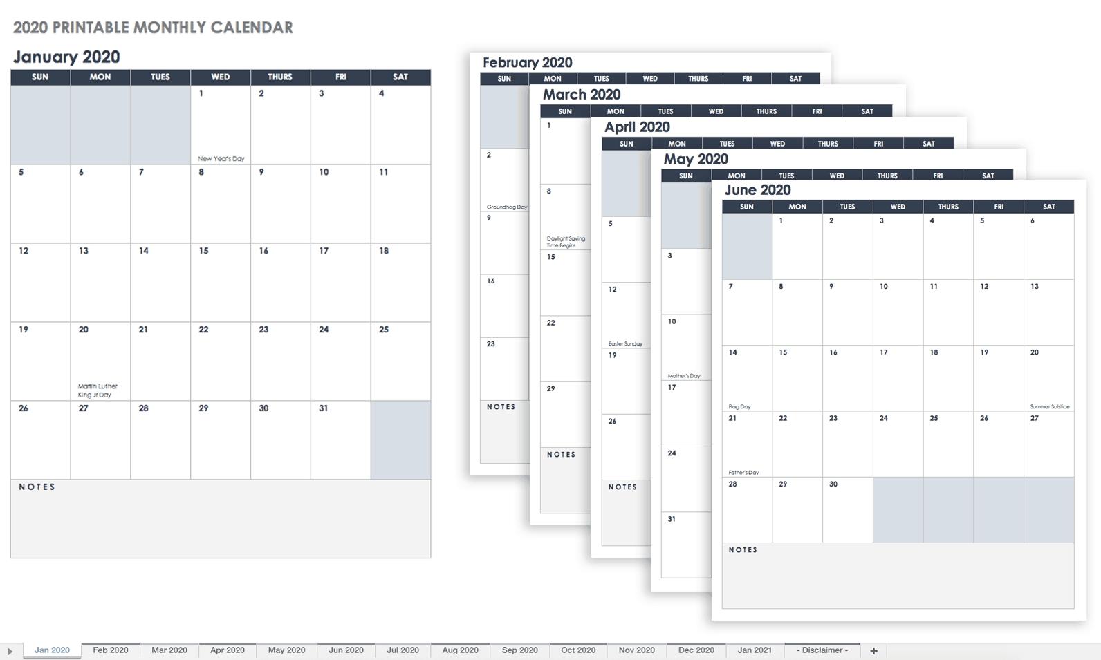 Free Blank Calendar Templates - Smartsheet intended for Blank Fill In Calendar 2020