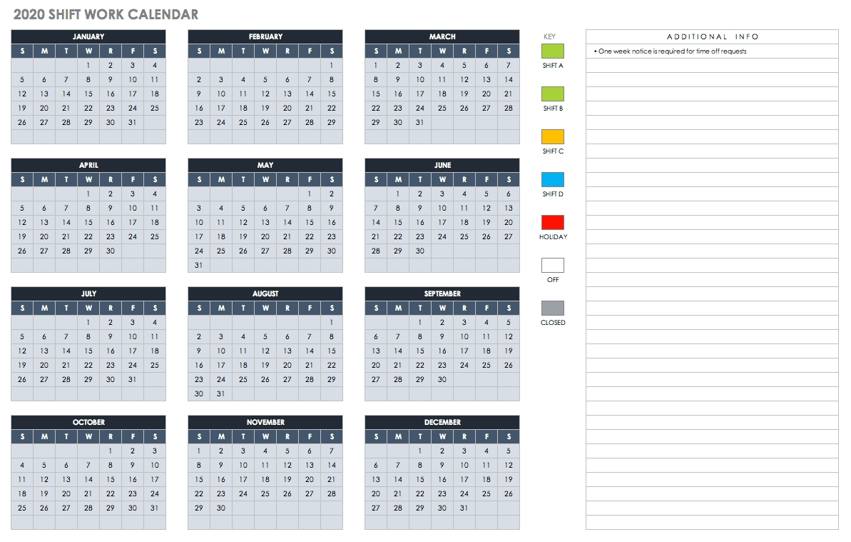 Free Blank Calendar Templates - Smartsheet with 2020 Year At A Glace Attendance Calendar