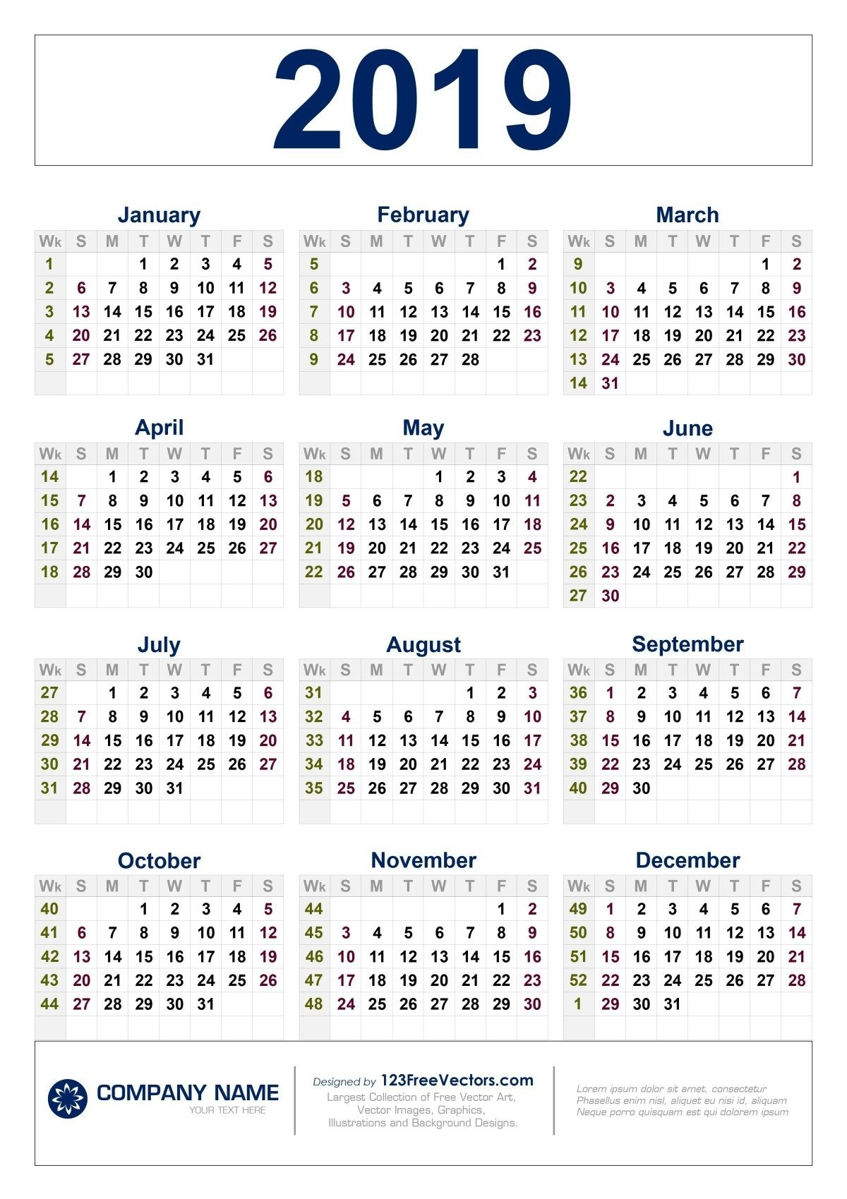 Free Download 2019 Calendar With Week Numbers | Calendar throughout Calendar 2019 2020 With Week Number