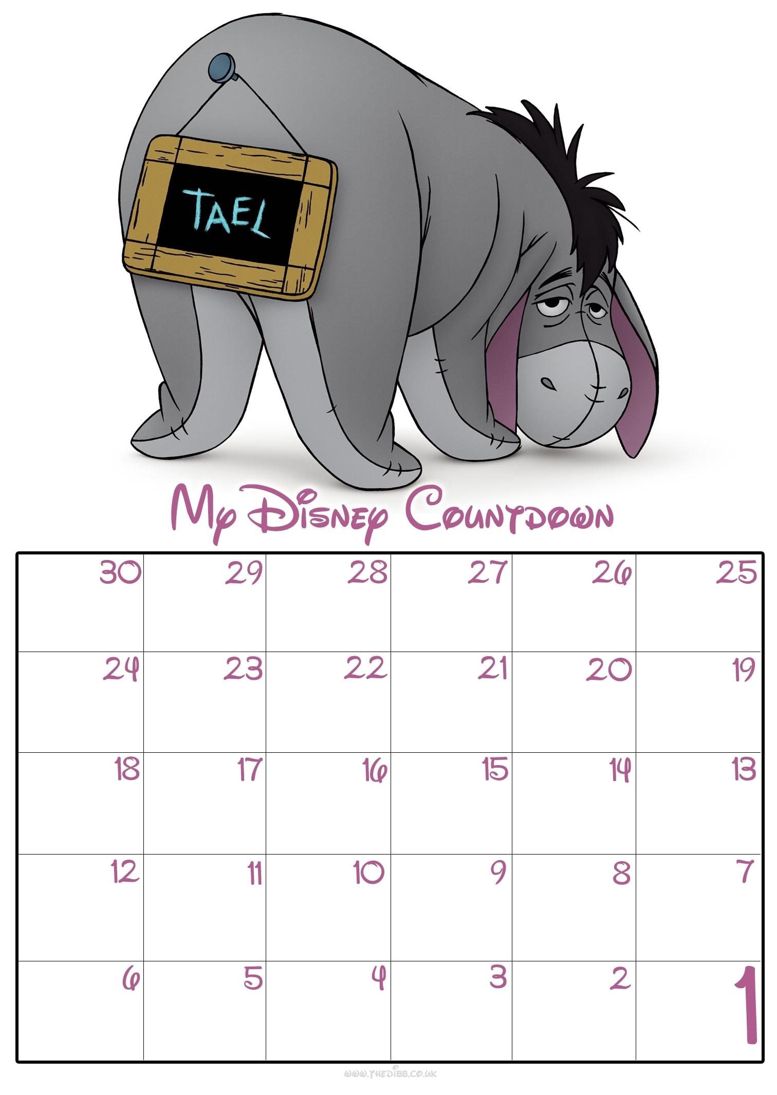 Free Download Free 30 Day Disney Countdown Calendar throughout Count Diwn Calendar Fir Disney Cruise