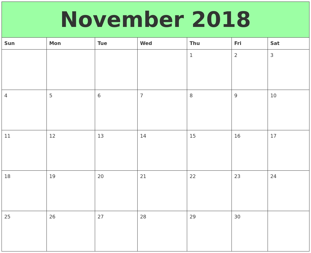 Free Download Printable Calendar November 2018 Without inside Print Free Calendars Without Downloading