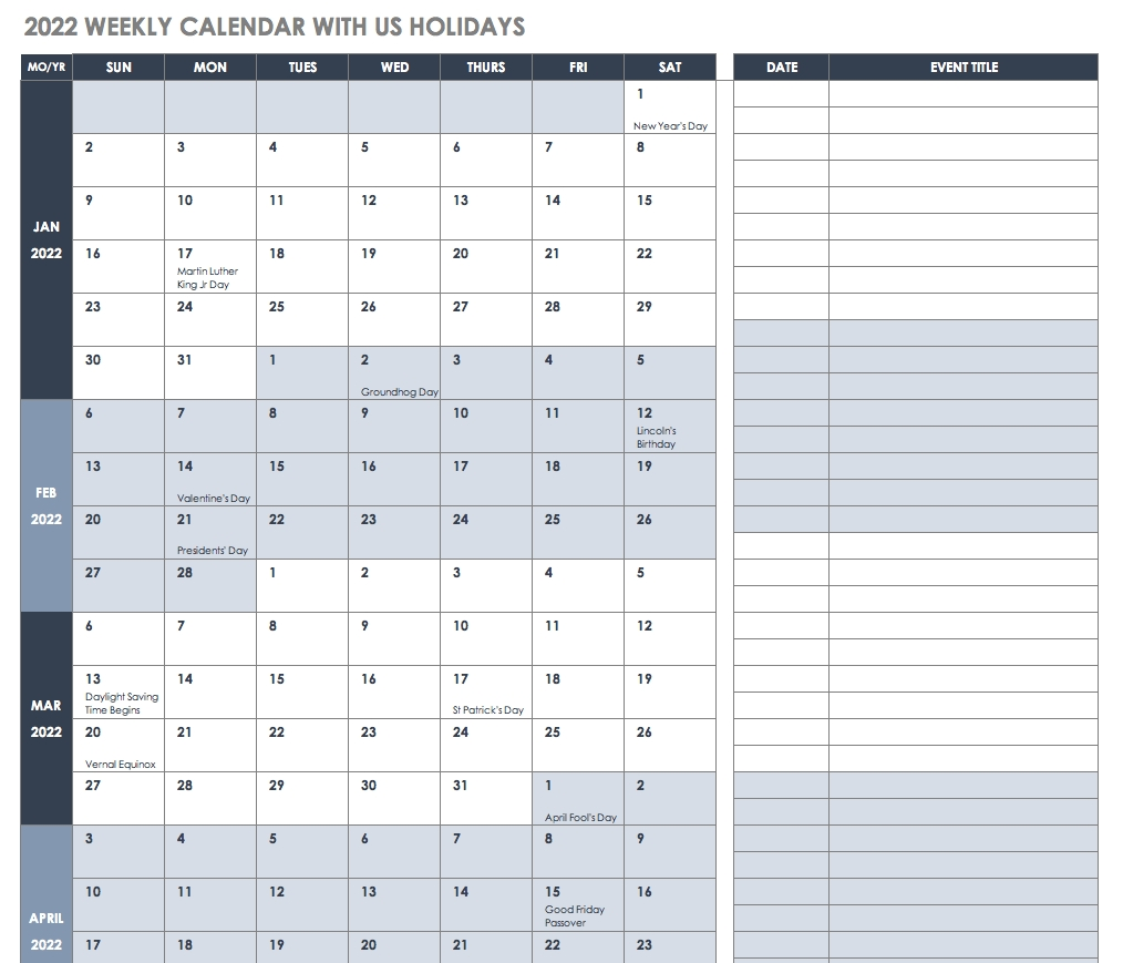 Free Excel Calendar Templates for Calender For 2020 Week Wise