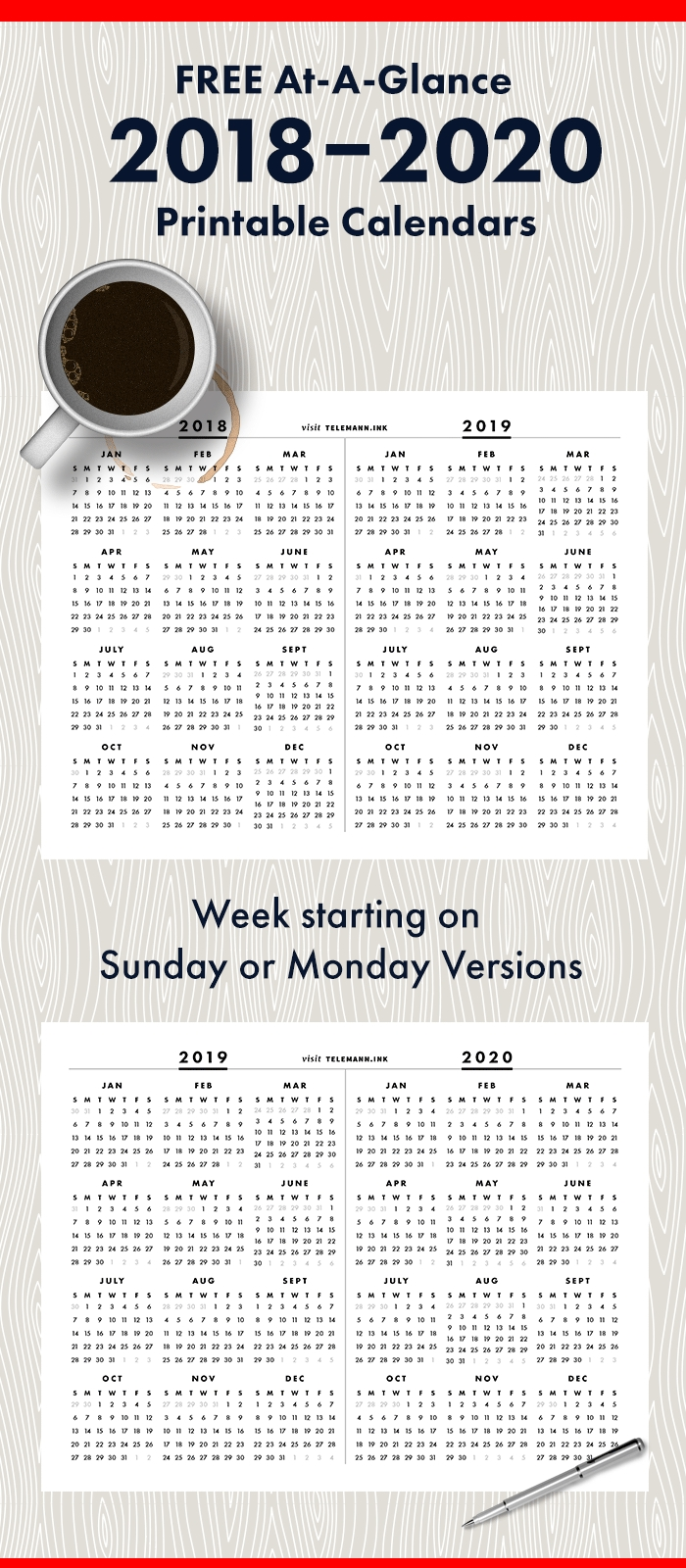 Free Full-Year, Single-Page 2018-2019 Or 2019-2020 At A in 8.5 X 11 Printable 2020 Calendar At A Glance