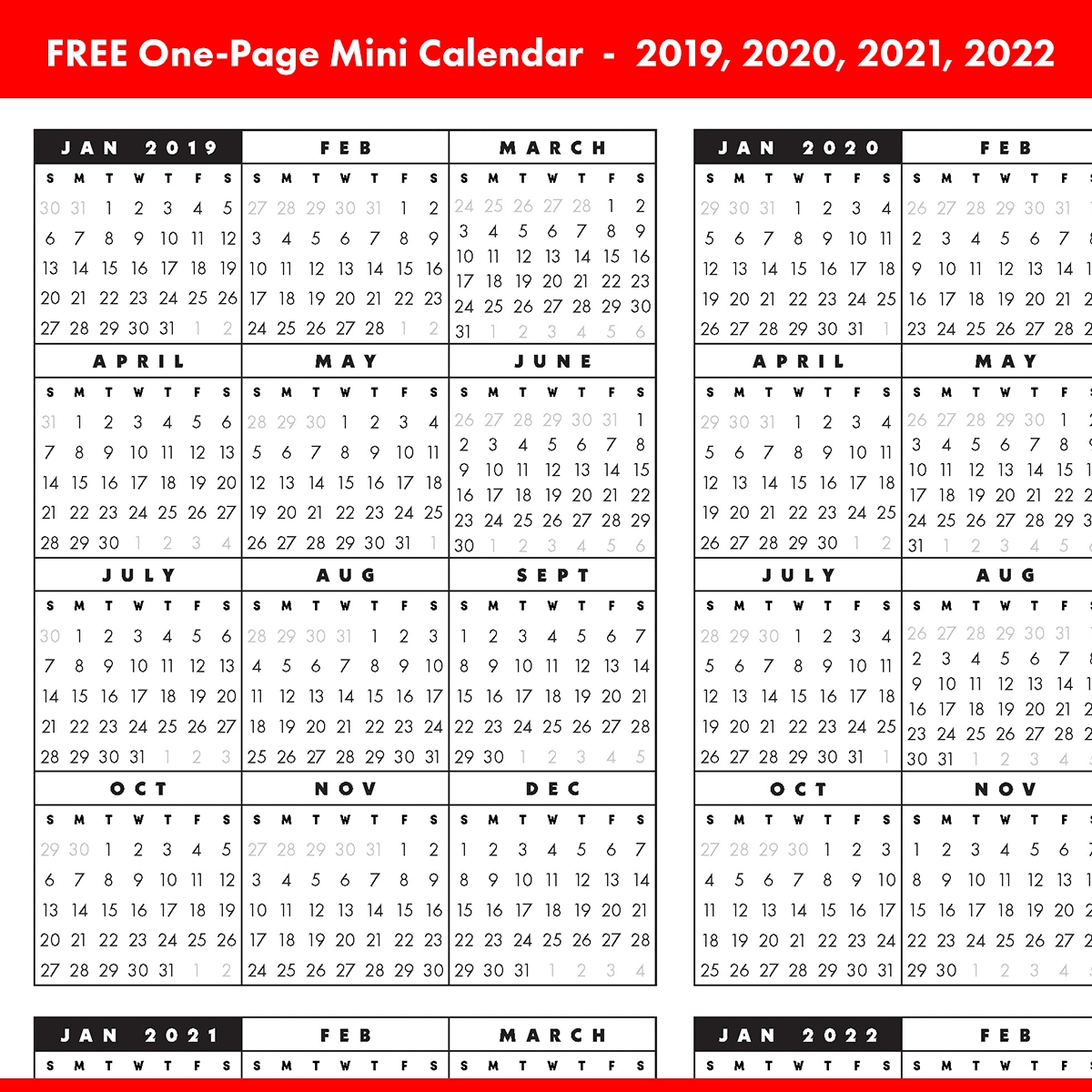 Free Full-Year, Single-Page 2019, 2020, 2021, 2022 At A in May Calendars For 2019 2020 2021 And 2022