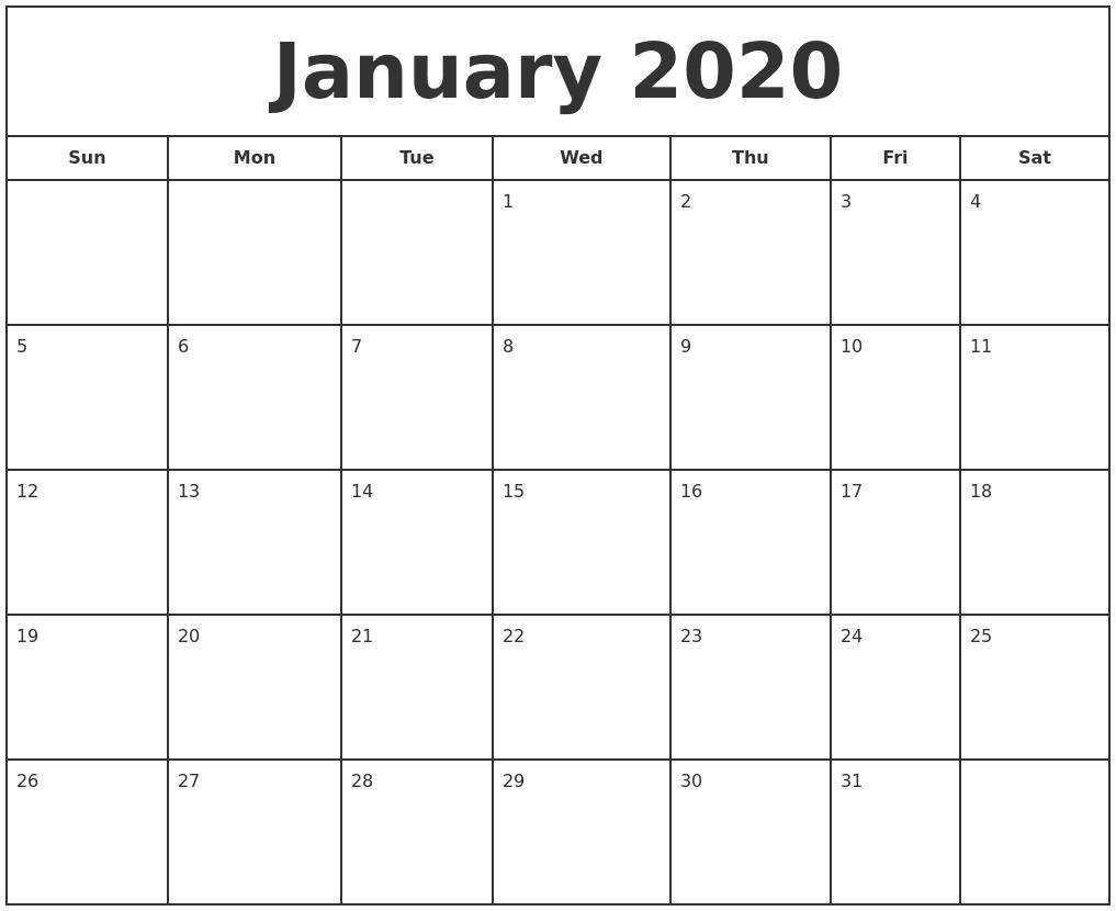 Free January Calendar 2020 Printable Template Blank In Pdf inside Blank Fill In Calendar 2020