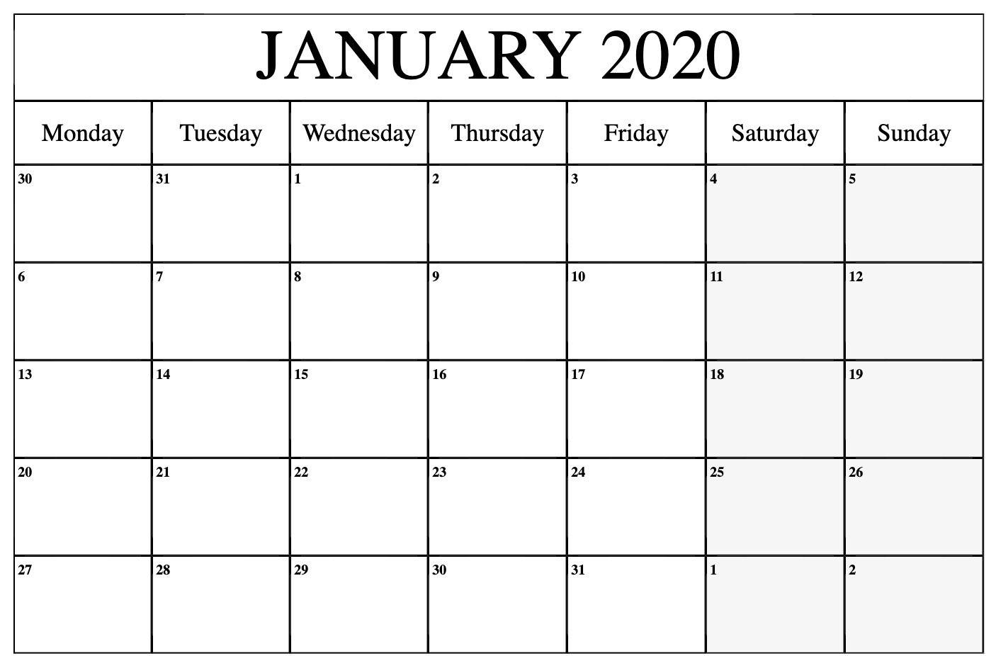 Free January Calendar 2020 Printable Template Blank In Pdf pertaining to 2020 Calendar Print Mon To Sunday