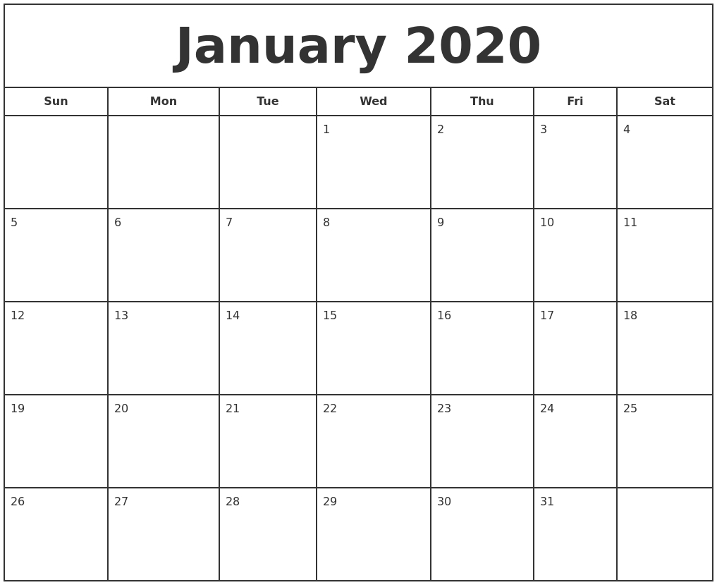 Free January Calendar 2020 Printable Template Blank In Pdf regarding Free Printable Blank Monthly Calendar 2019