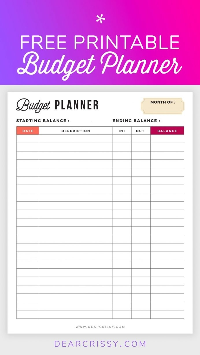 Free Monthly Budget Template Printable Household Worksheet with Bill Organizer Free Print Month Year