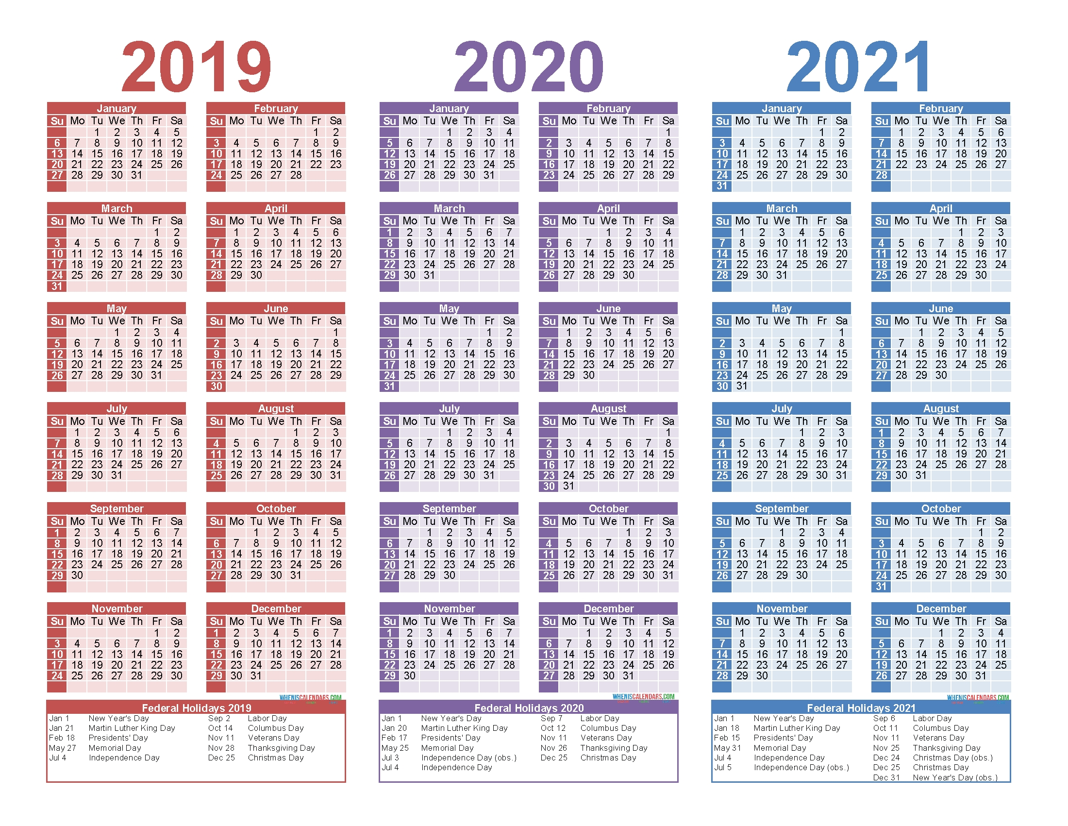 Free Printable 2019 2020 2021 Calendar With Holidays | Free within 3 Year Calendar Printable 2019 2020 2021