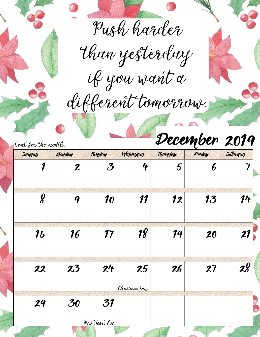 Free Printable 2019 Monthly Motivational Calendars | Free with Inspirational 2020 Free Printable Calendar
