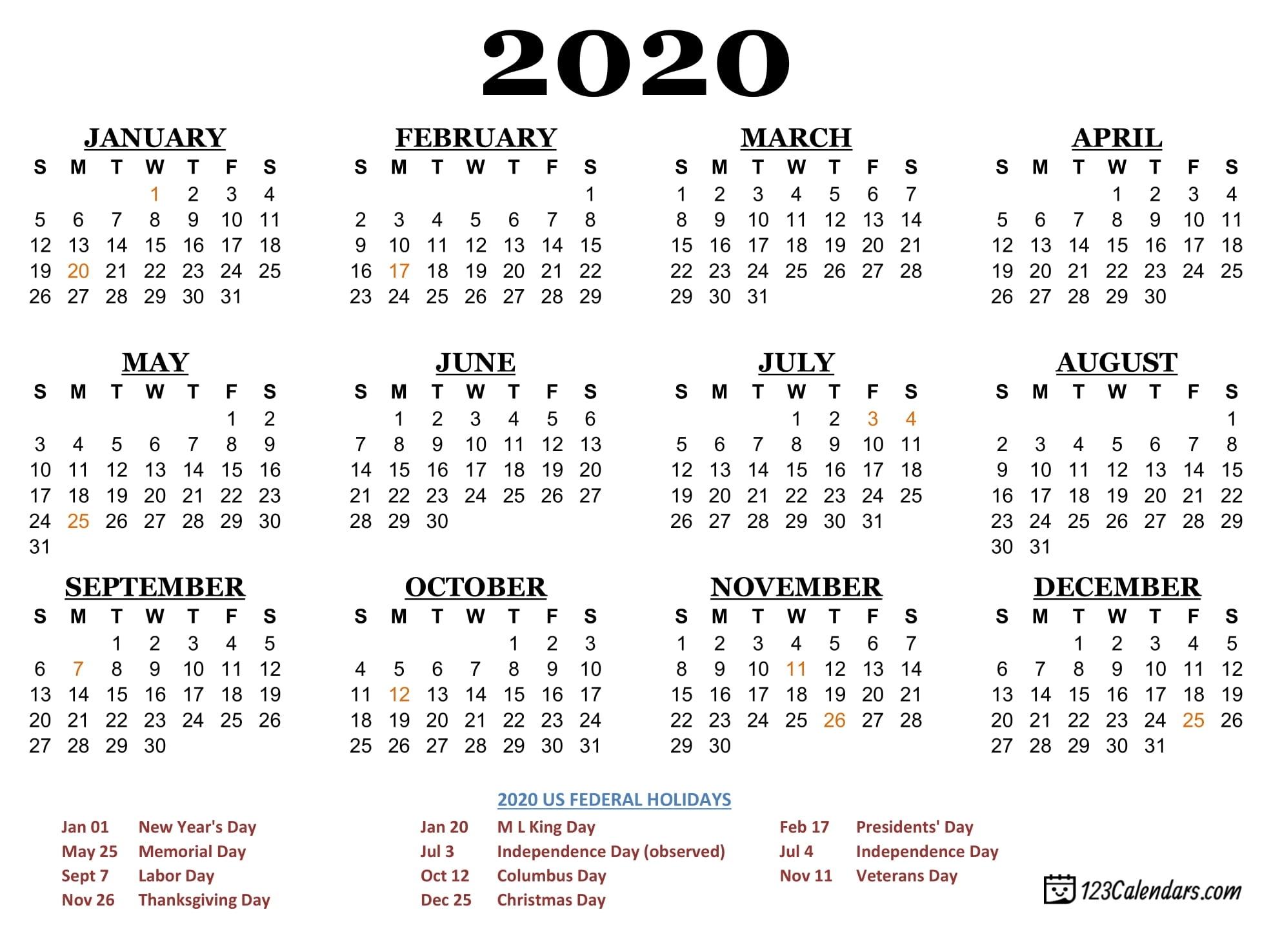Free Printable 2020 Calendar | 123Calendars for 2020 Pocket Size Calendar Free
