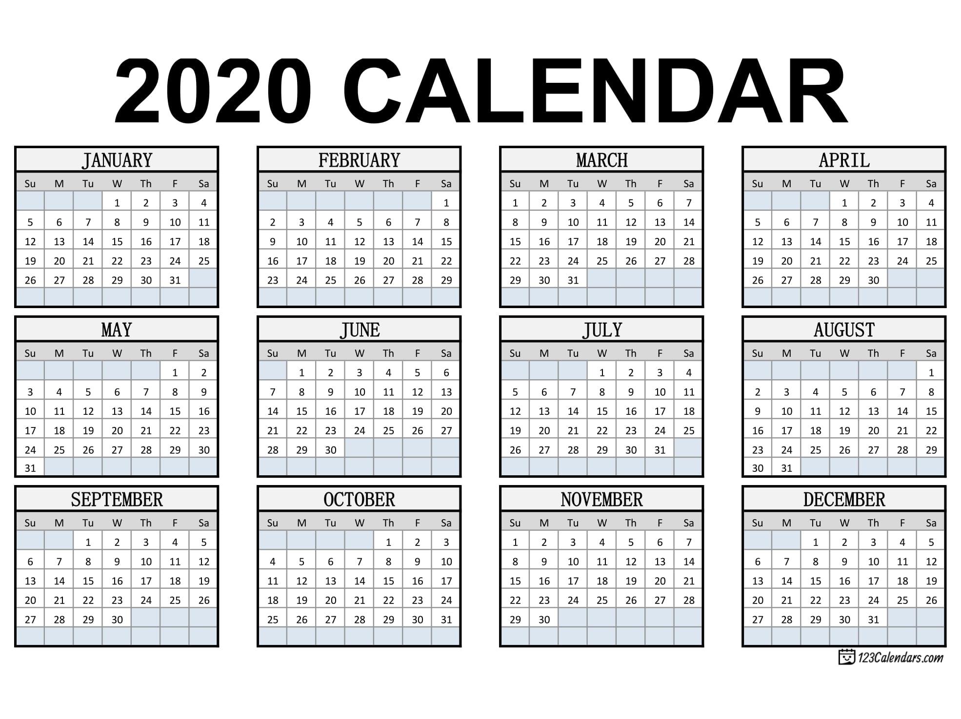 Free Printable 2020 Calendar | 123Calendars inside Pocket Size Monthly Calendar Printable