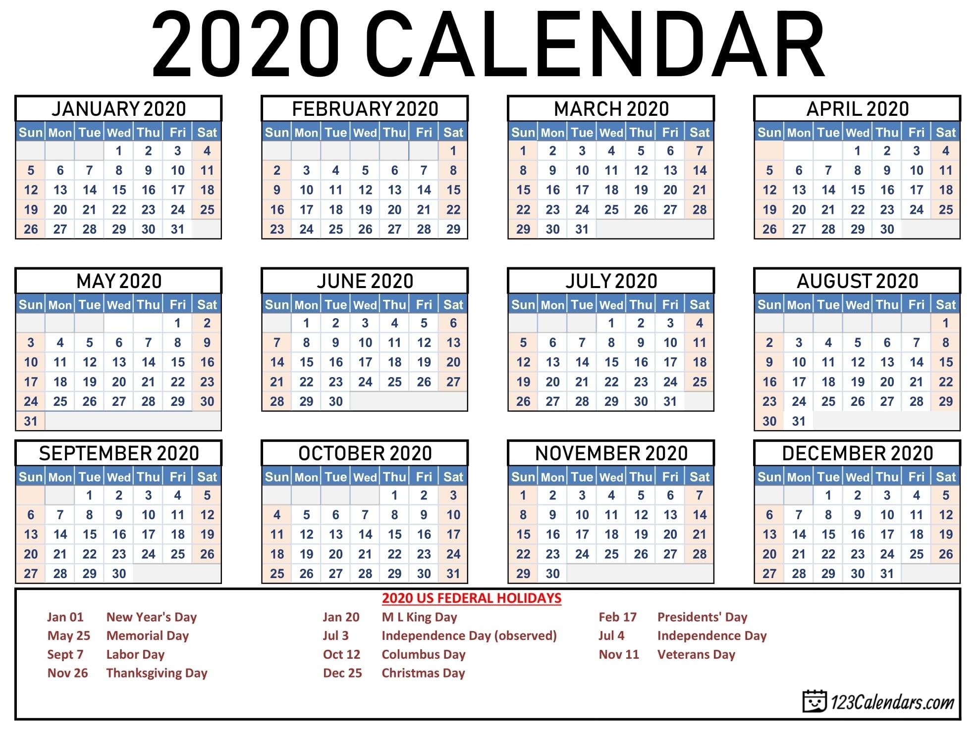 Free Printable 2020 Calendar | 123Calendars intended for 2020 Pocket Size Calendar Free