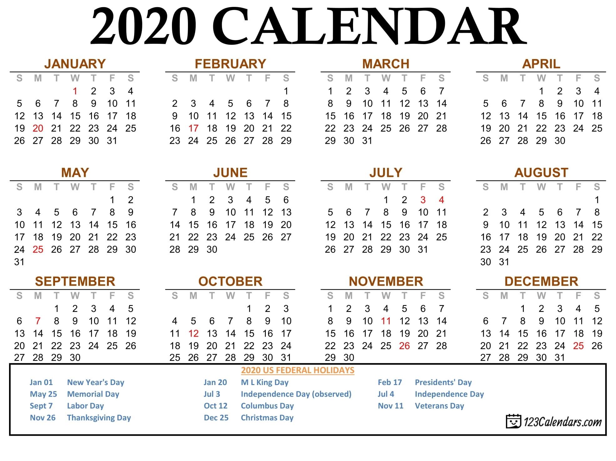 Free Printable 2020 Calendar | 123Calendars regarding Pocket Size Calendar Free Printable
