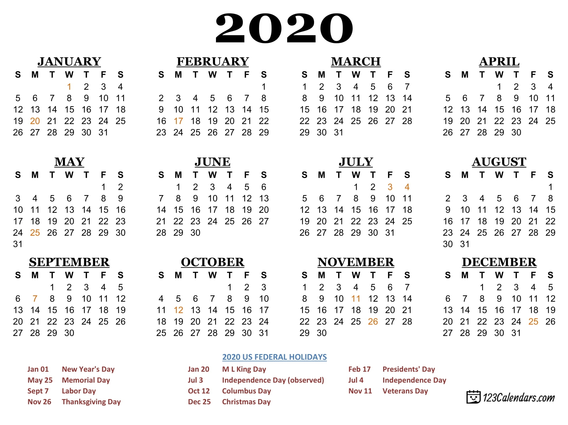 Free Printable 2020 Calendar | 123Calendars with 2020 Free Year Printable Calendars Without Downloading