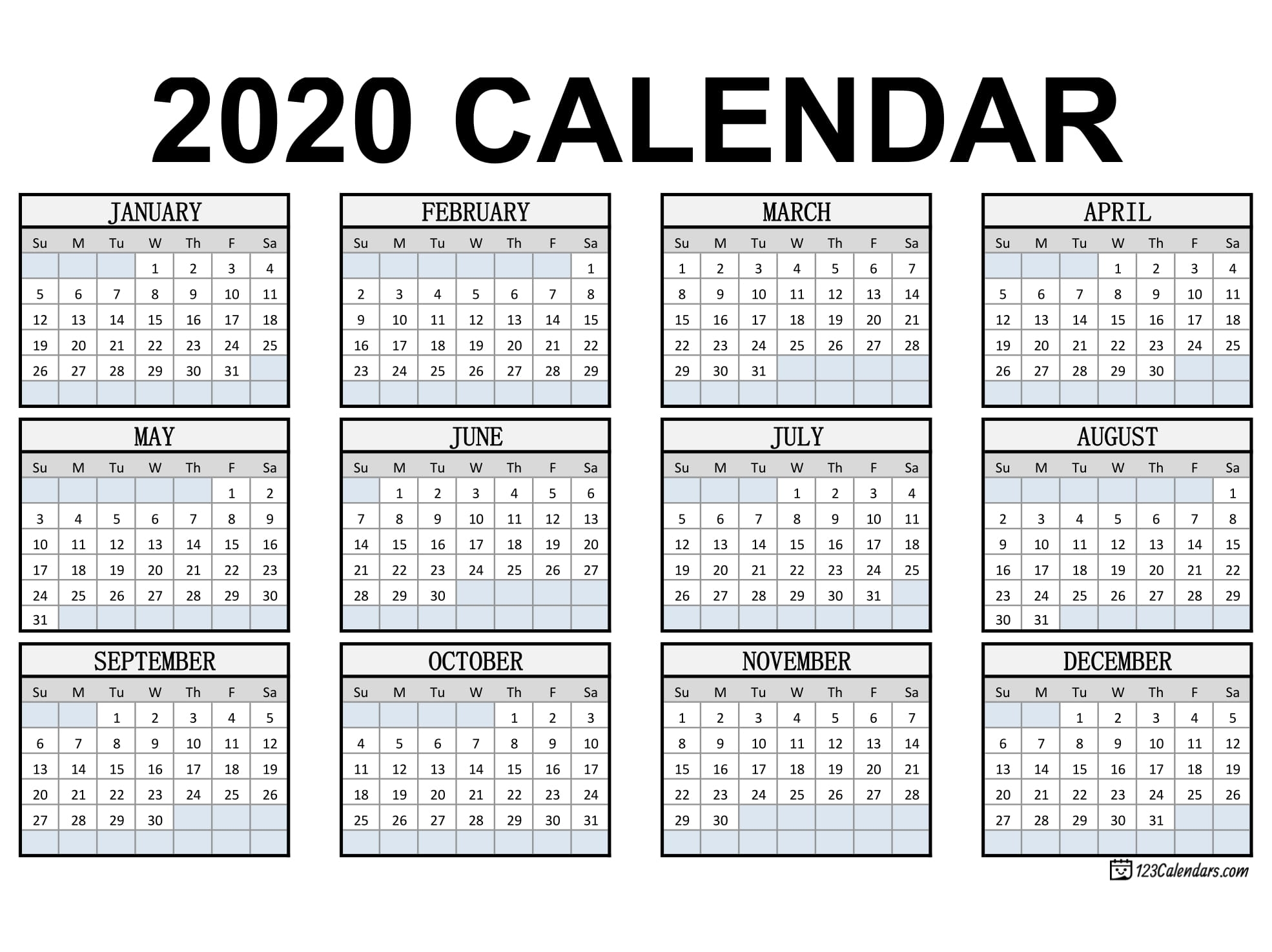 Free Printable 2020 Calendar | 123Calendars with regard to Template For Pocket Sized Calendar
