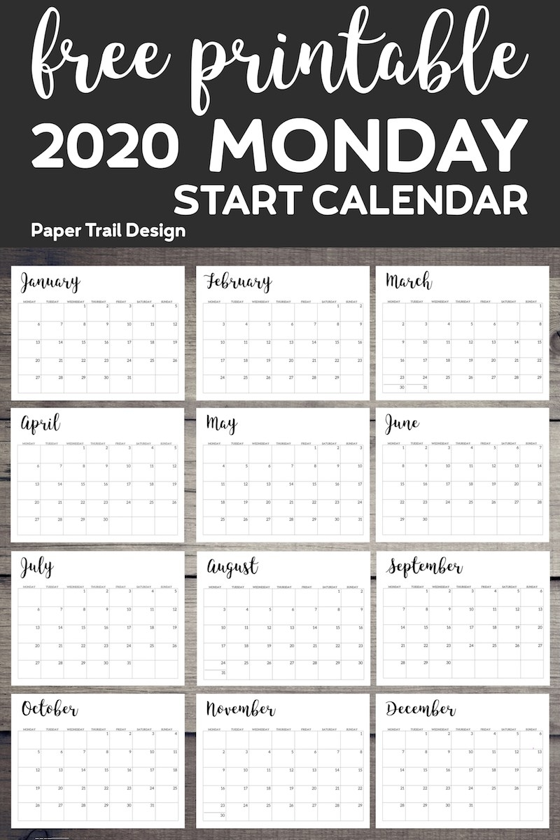 Free Printable 2020 Calendar - Monday Start - Paper Trail Design within Printable Calendar 2020 Monday Start