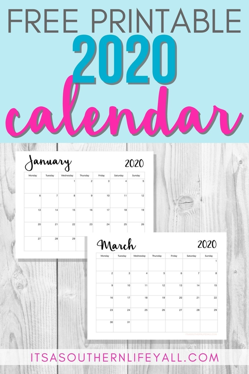 Free Printable 2020 Calendar | Monthly Planner Printable throughout 2020 Calendar With Important Dates