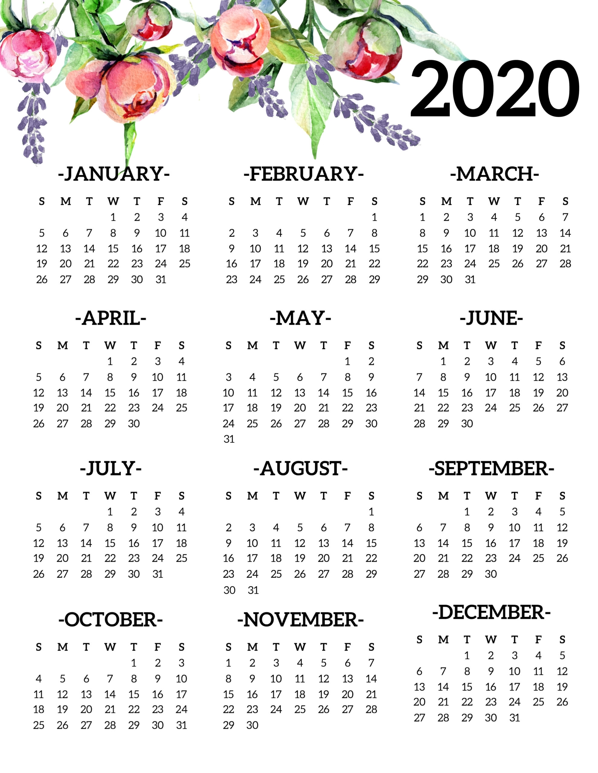 Free Printable 2020 Calendar Yearly One Page Floral - Paper with regard to 2020 Free Year At A Glance Printable