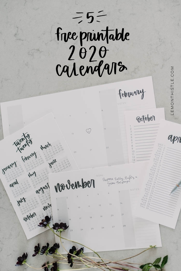 Free Printable 2020 Calendars Are Here! (5 Formats!) - Lemon intended for Calendar With Lots Of Space To Write 2020