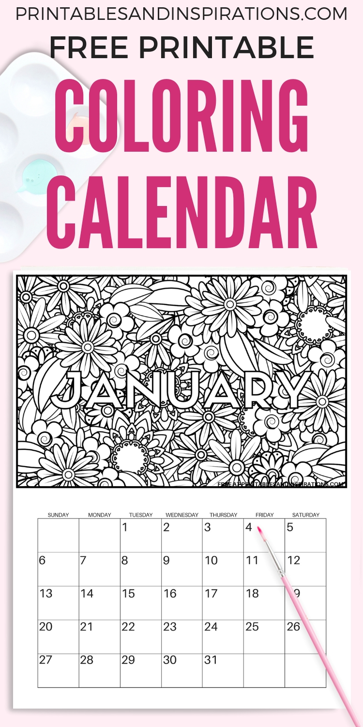 Free Printable 2020 Coloring Calendar Pages | Free Calendar in Adult Coloring 2020 Calendar Printable