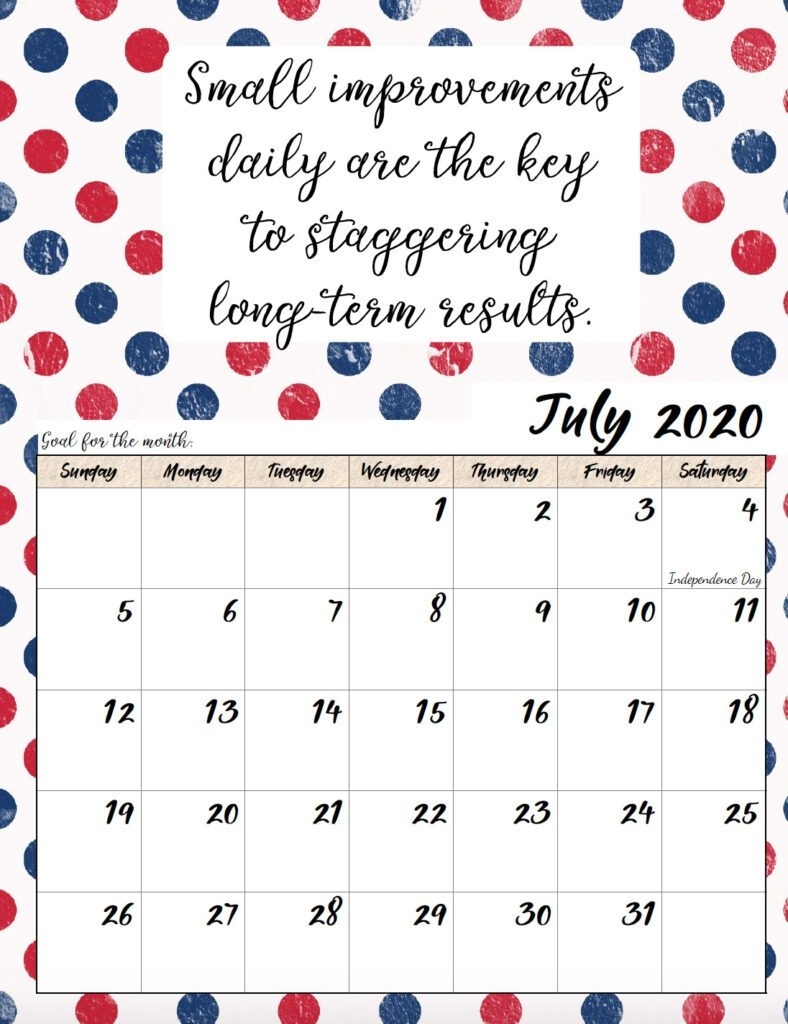Free Printable 2020 Monthly Motivational Calendars in Inspirational 2020 Free Printable Calendar