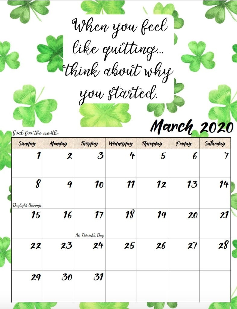 Free Printable 2020 Monthly Motivational Calendars pertaining to Inspirational 2020 Free Printable Calendar