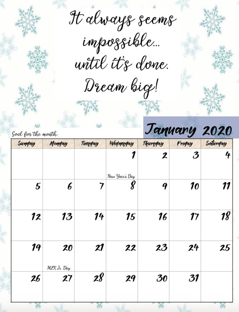 Free Printable 2020 Monthly Motivational Calendars throughout Inspirational 2020 Free Printable Calendar