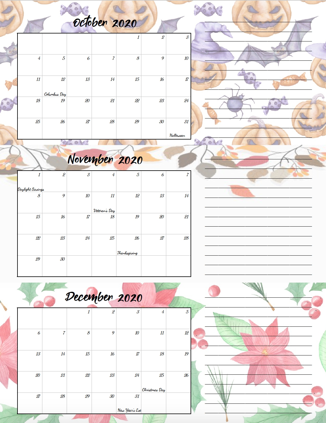 Free Printable 2020 Quarterly Calendars With Holidays: 3 regarding Free Printable Calander 2020 Victoria Wiht Spaces To Write