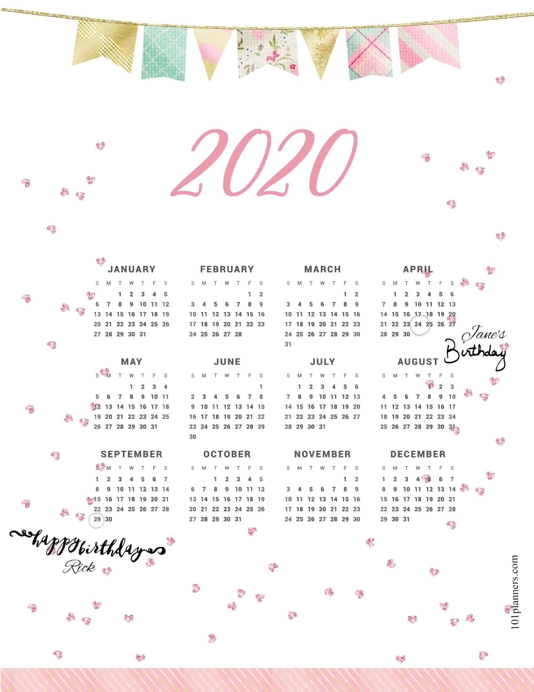 Free Printable 2020 Yearly Calendar At A Glance | 101 within Printable Month At A Glance Calendar 2020
