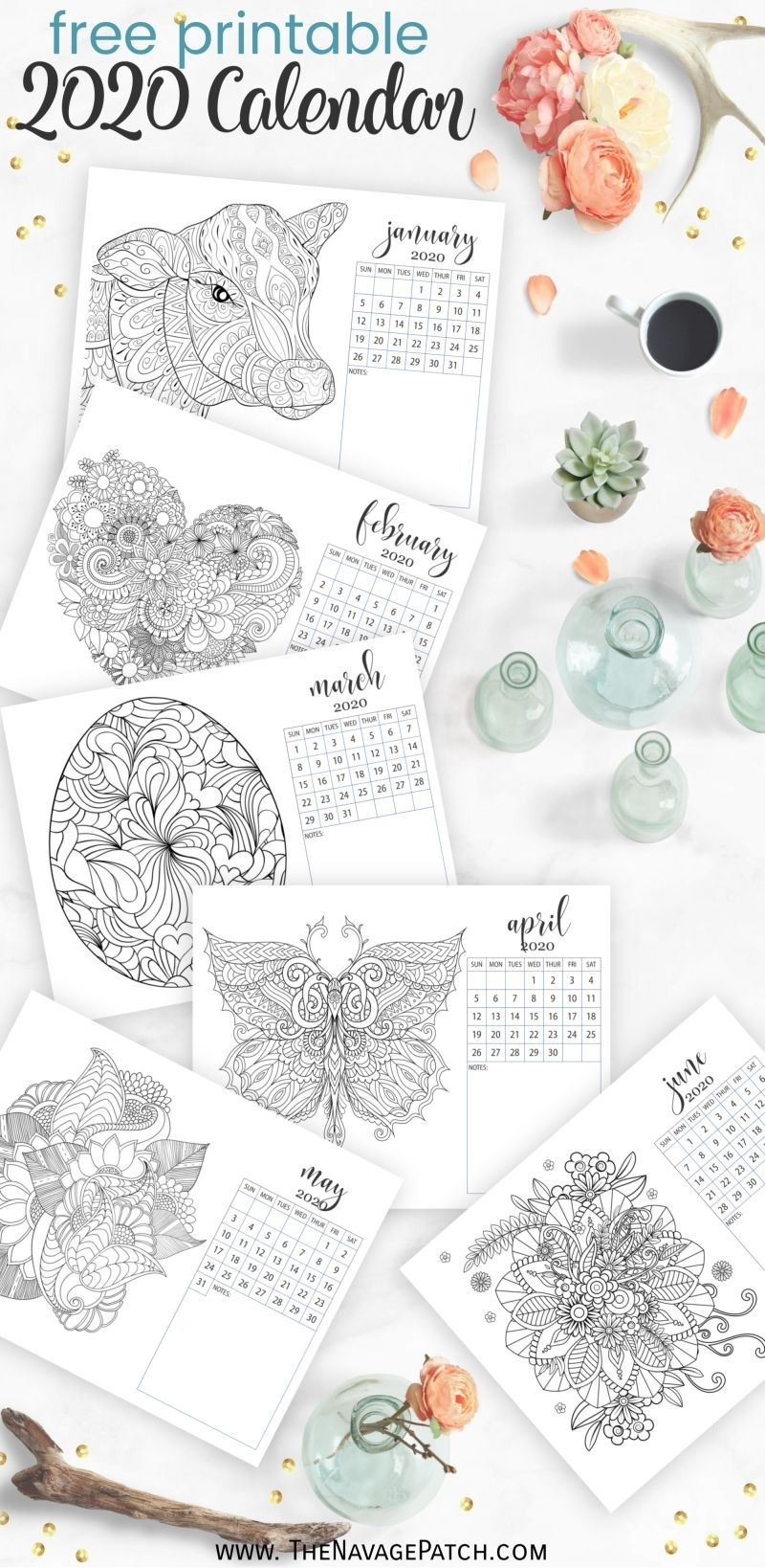 Free Printable Adult Coloring Calendar For 2020 | Free Adult pertaining to Adult Coloring 2020 Calendar Printable