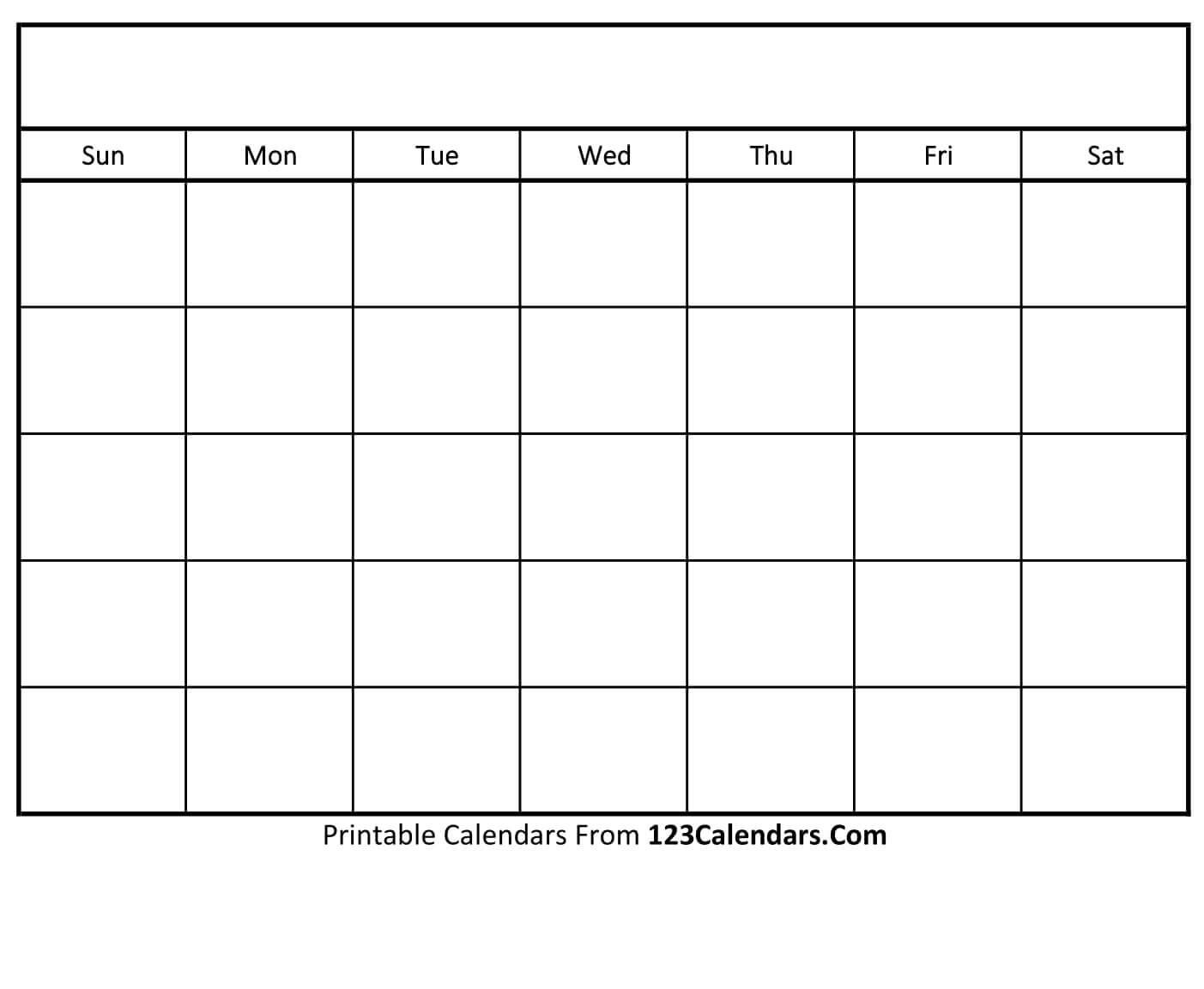 Free Printable Blank Calendar | 123Calendars throughout Blank Monthly Calendar To Print