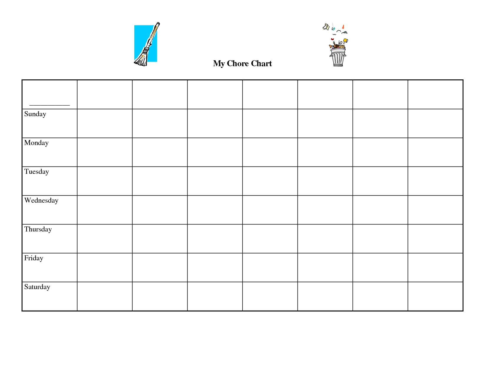 Free Printable Blank Charts - Colona.rsd7 throughout Printable Monday Through Friday Chart