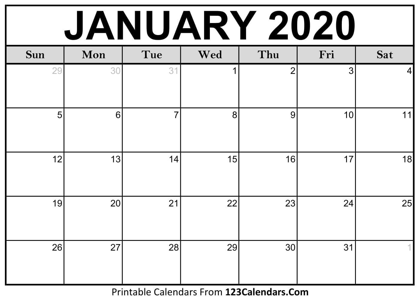 Free Printable Calendar | 123Calendars for Print Free Calendars 2020Without Downloading
