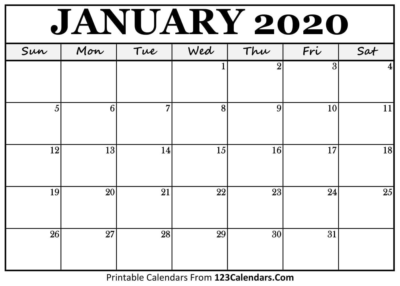 Free Printable Calendar | 123Calendars regarding 2020 Printable Fill In Calendar