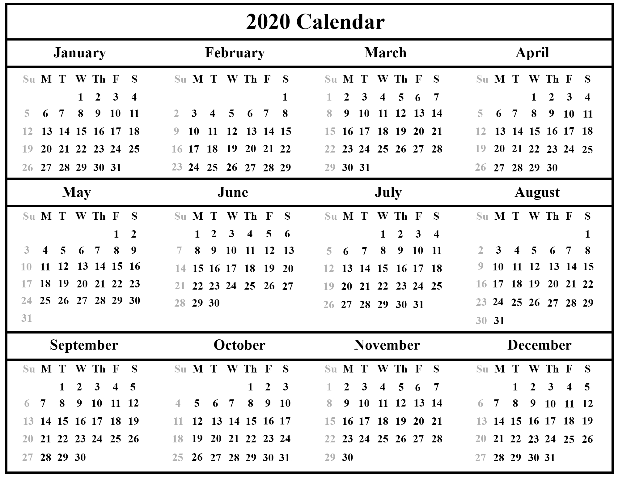 Free Printable Calendar 2020 With Holidays | 12 Month with 2020 Year Calendar With Space To Write