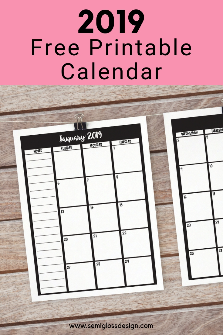 Free Printable Calendar For 2019 | Free Printable Calendar within Calendars To Print Free With Space To Write