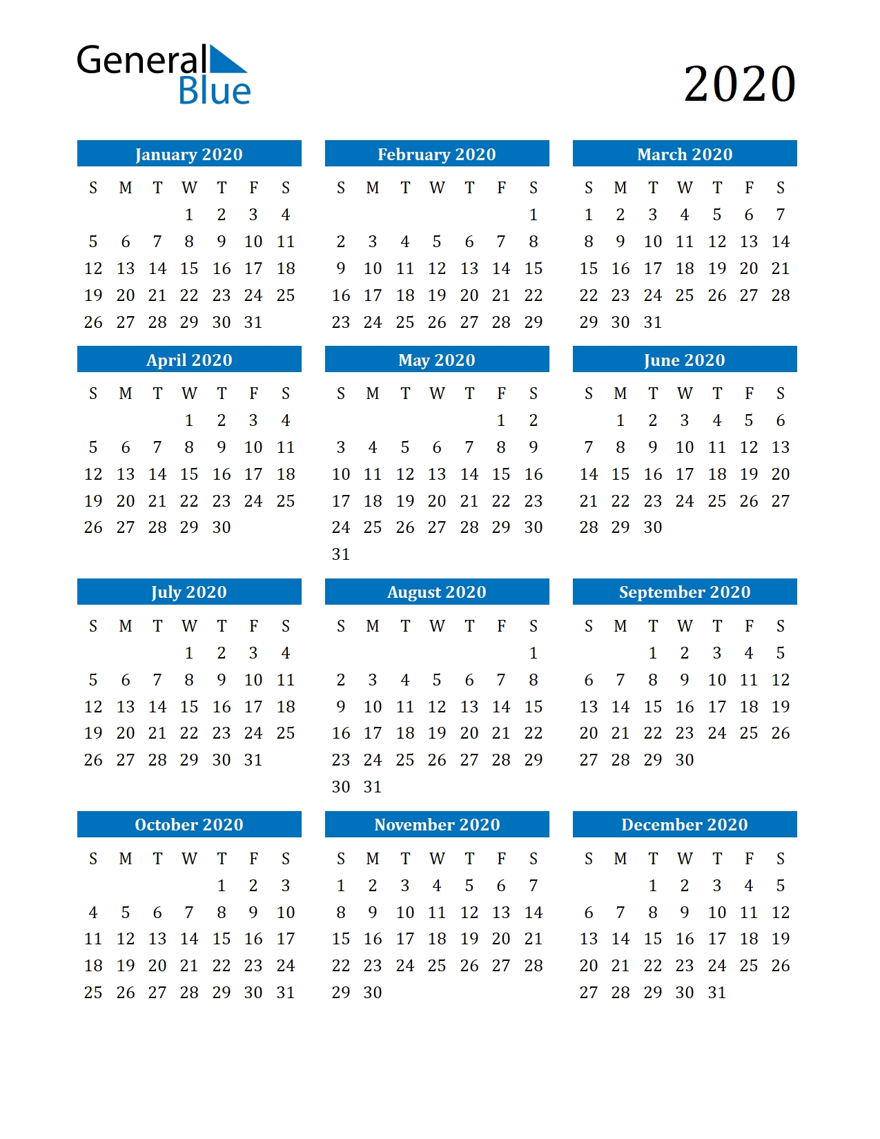 Free Printable Calendar In Pdf, Word And Excel within 2020 Free Year Printable Calendars Without Downloading
